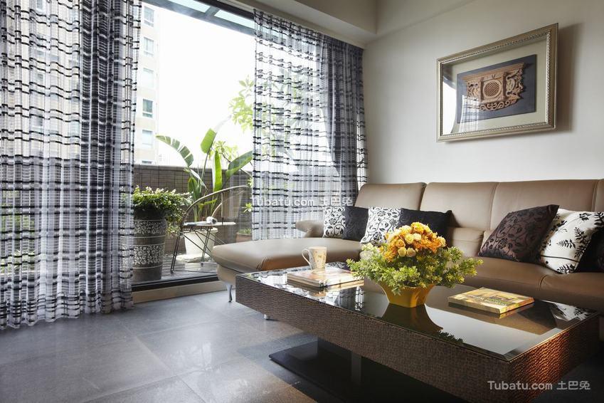 现代田园风三居室装修设计效果图片