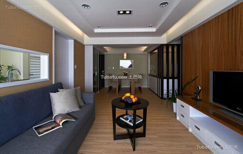 现代美式二居客厅装修图片