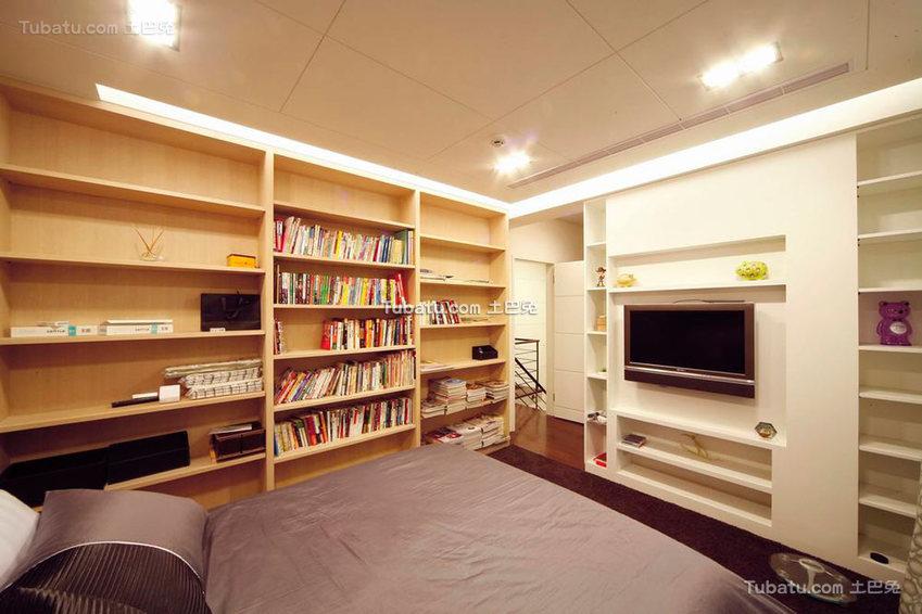 美式卧室书房一体设计图