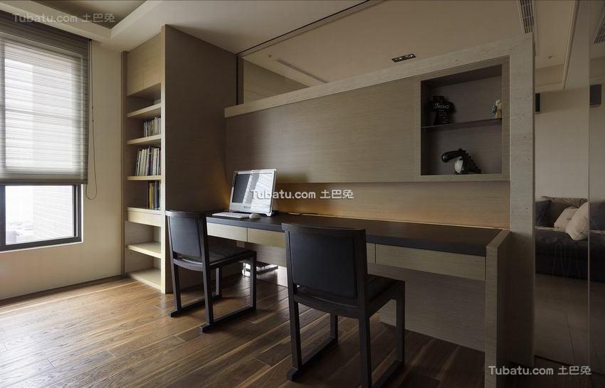 现代风格装修的书房效果图