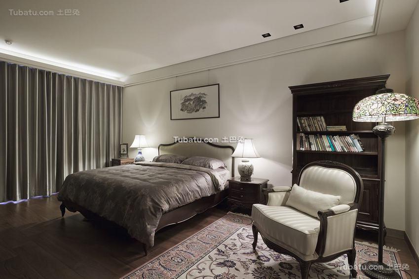 现代复古风格卧室装饰图片