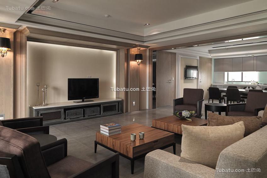 140平米美式现代三居室装修效果图