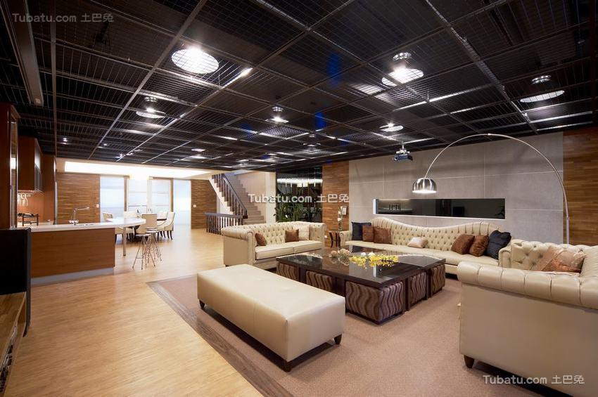 现代家居客厅铁丝吊顶装修