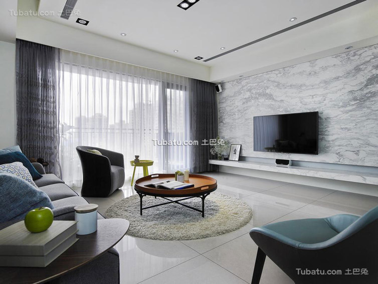 125平米现代三室一厅装修效果图