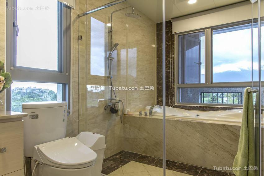 简约浴室隔断布置效果图片