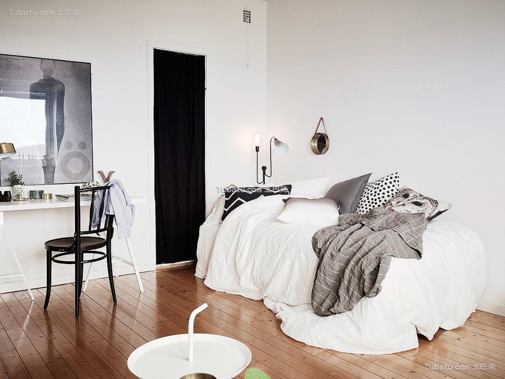 北欧卧室黑白灰装修效果图