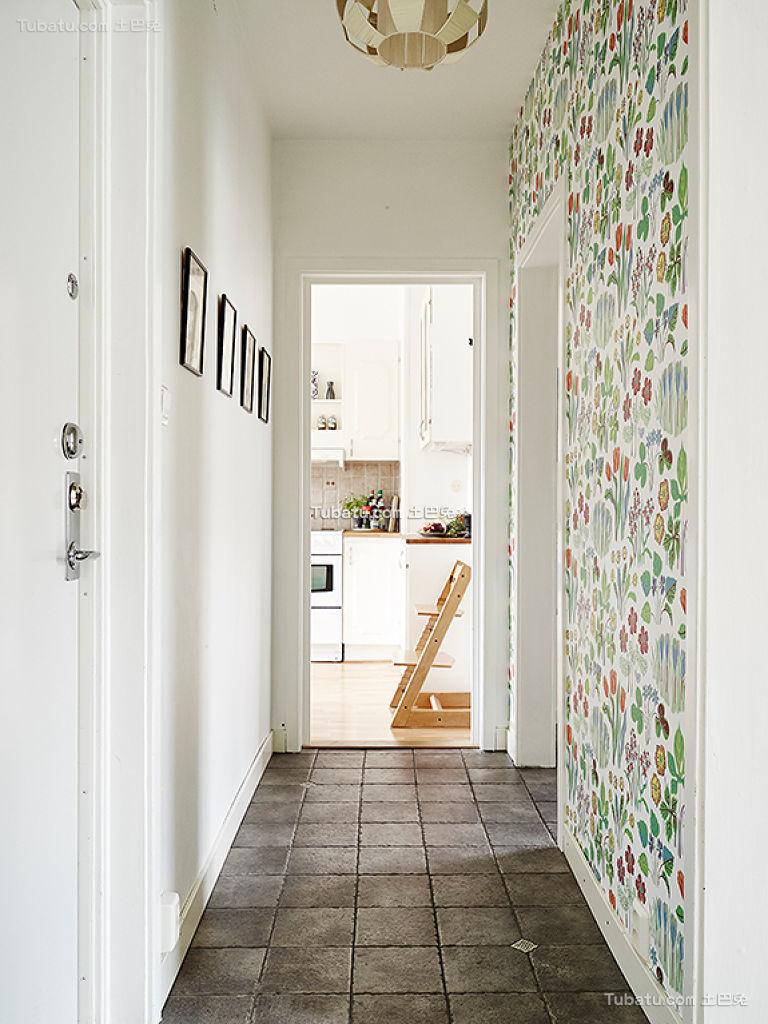 北欧清新可爱墙纸过道装饰