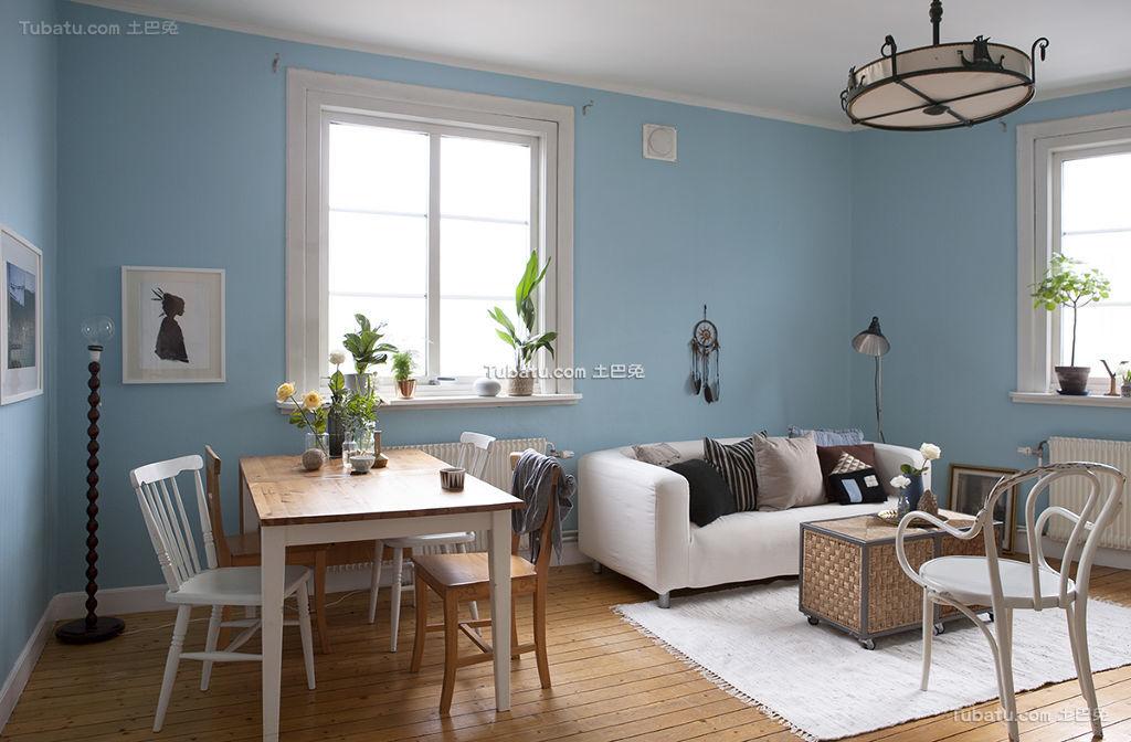 清新蓝色北欧一居室装修案例