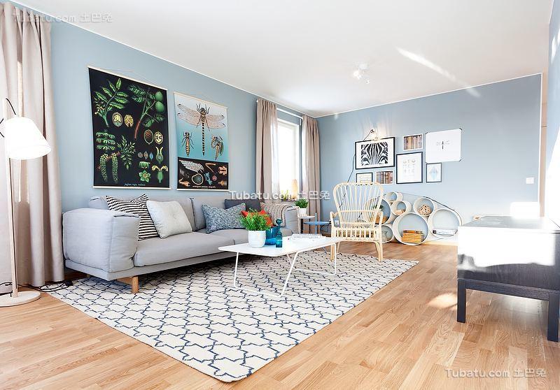 北欧挪威风格淡蓝色二居装修