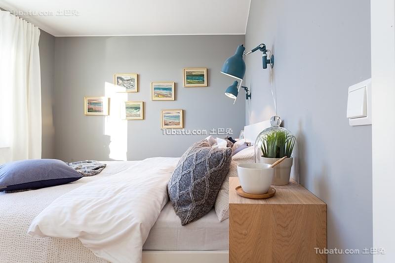 北欧挪威风格淡蓝色卧室装修
