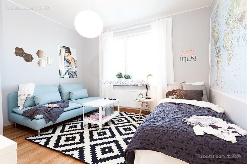 北欧挪威风格淡蓝色儿童房装修