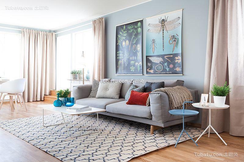 北欧挪威风格淡蓝色客厅装修