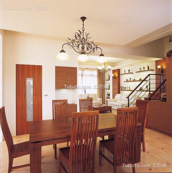 现代餐厅实木家具效果图