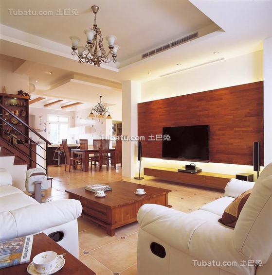 现代实木风格复式室内效果图