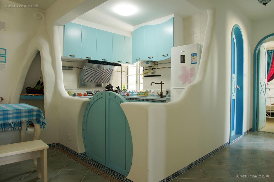 童趣地中海隔断间厨房装修案例