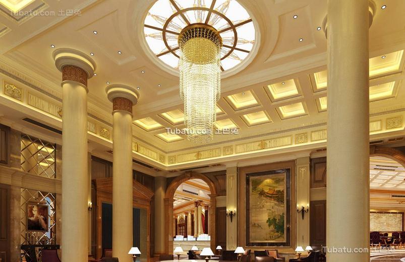 酒店大厅吊灯效果图片