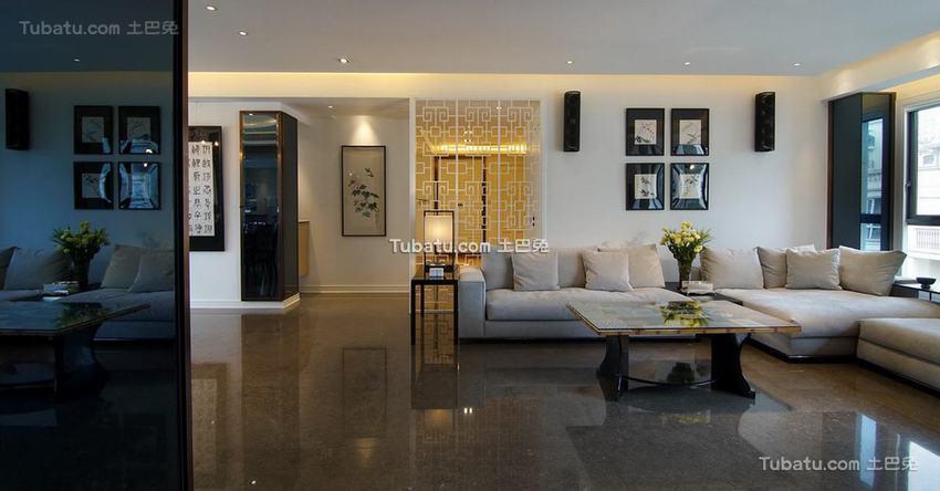 中式现代别墅室内客厅家装效果图