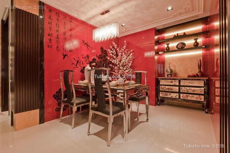 现代中式混搭餐厅效果图