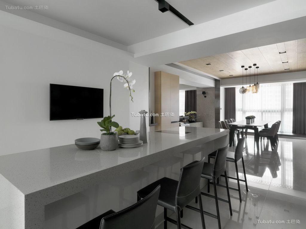 宜家厨房吧台设计效果图