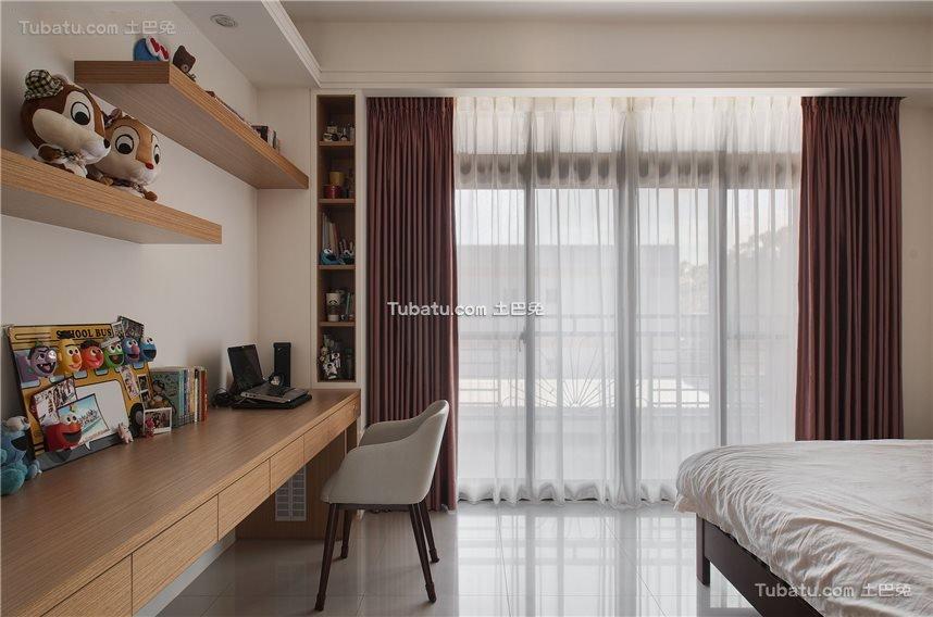 新中式卧室窗帘装饰设计效果图