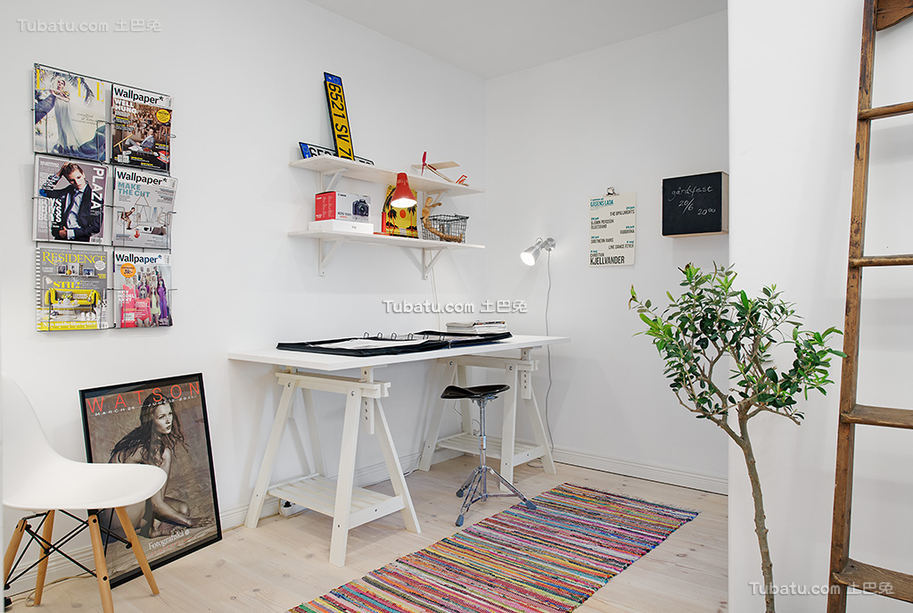 简洁北欧开放式书房空间效果图