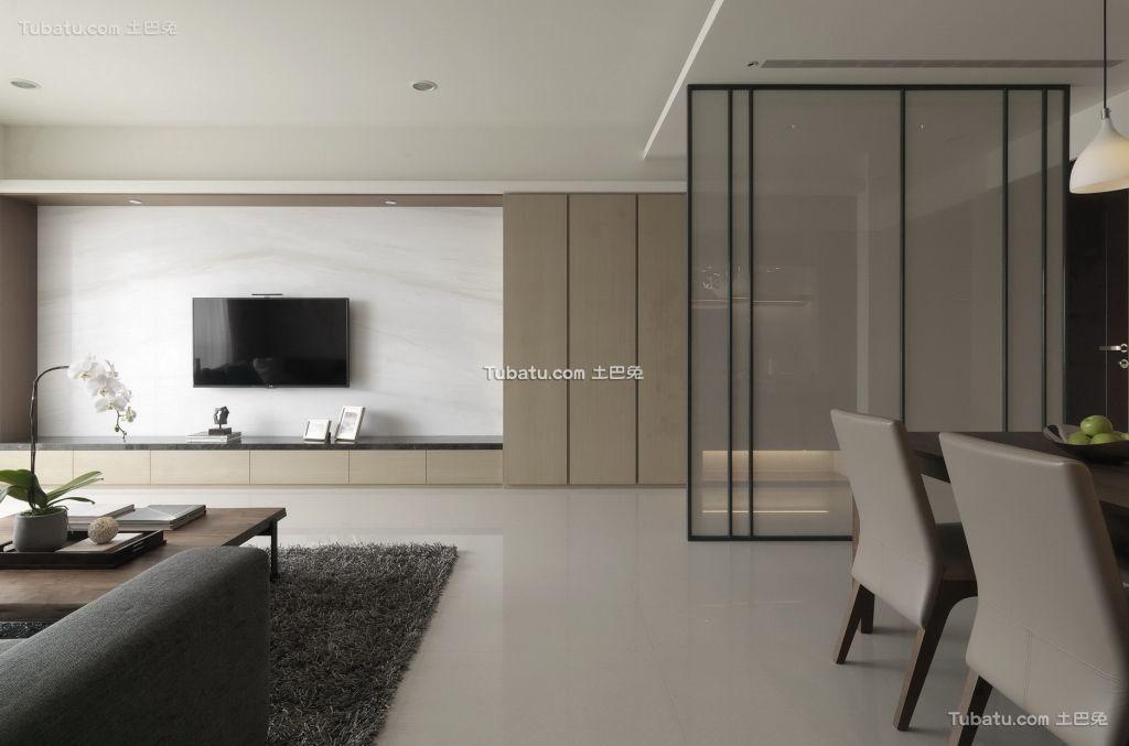 简约风格客厅隔断屏风家装效果图