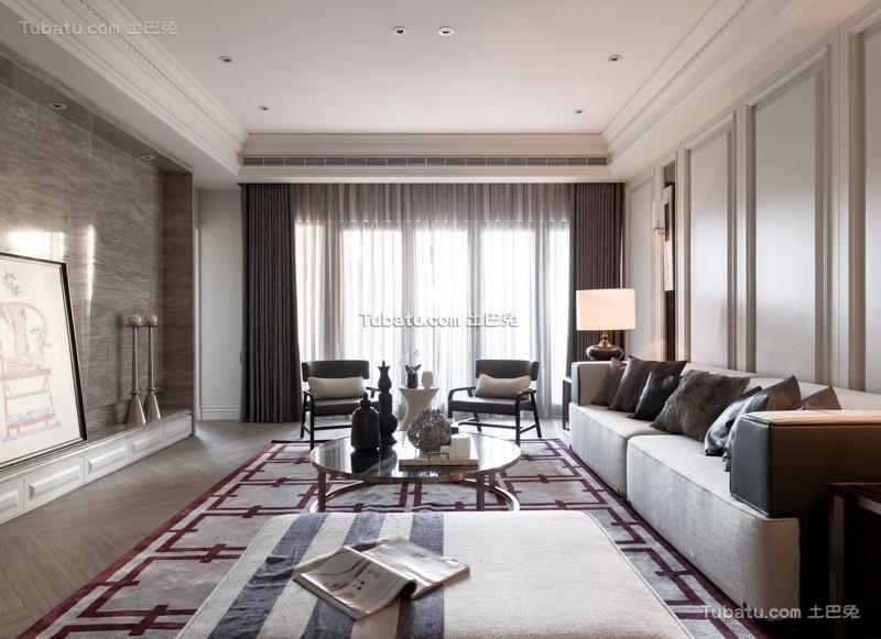 美式公寓家居客厅室内效果图
