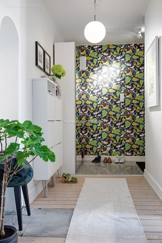 绿色北欧风格玄关装饰布置