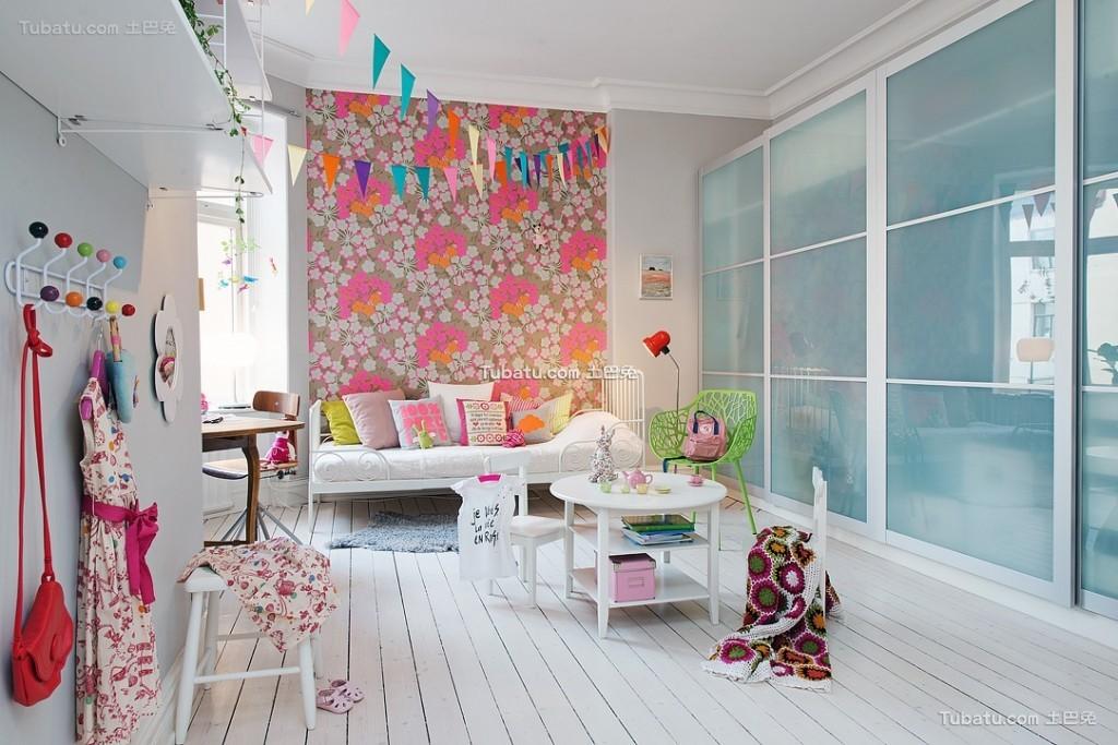 北欧可爱粉色儿童房设计