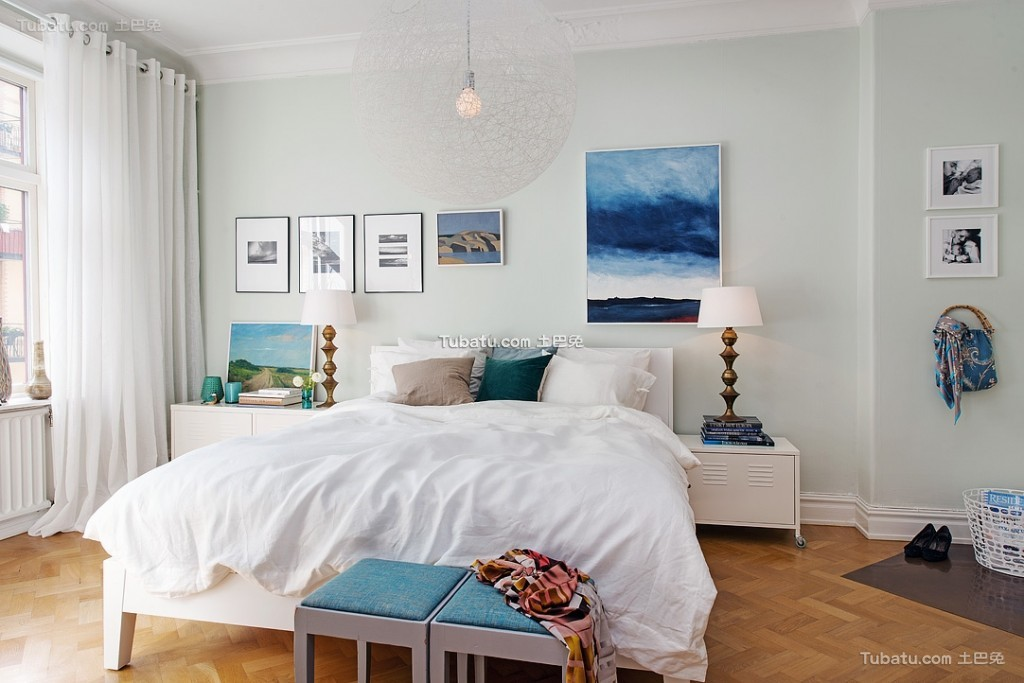 清凉夏日北欧风格卧室设计