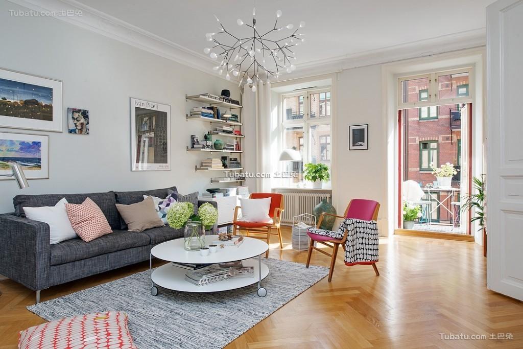 时尚北欧风格二居室装潢案例