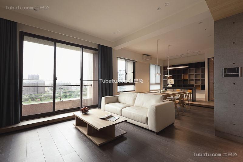 现代灰色主题二居装潢案例