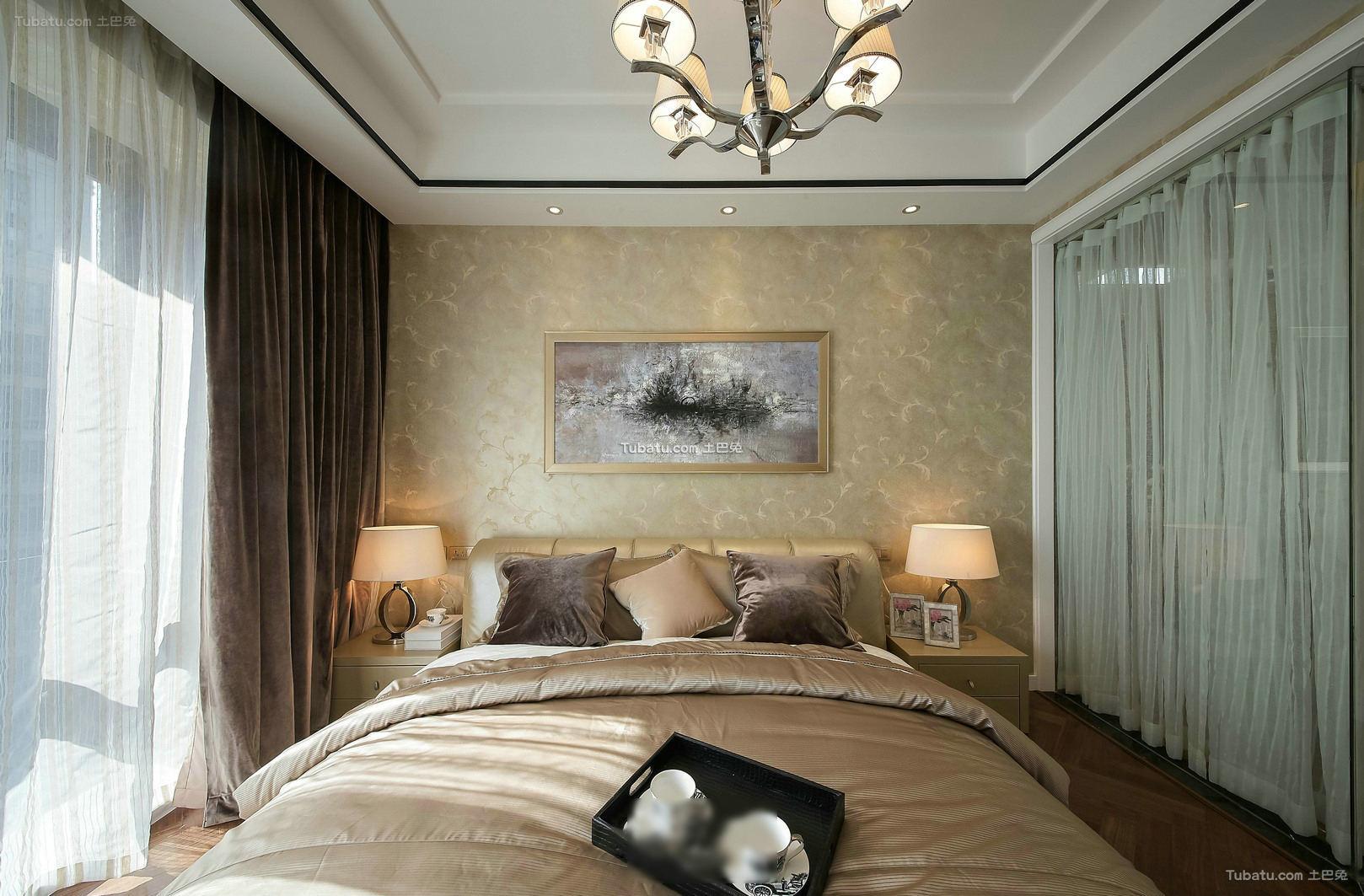 装修时尚卧室窗帘效果图