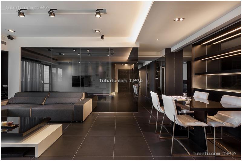 时尚黑色现代二居装潢案例