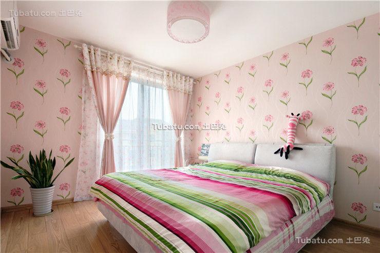 浪漫粉色田园风格卧室布置