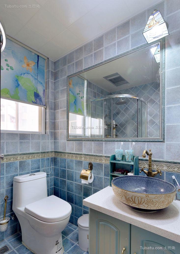 地中海现代室内卫生间装饰效果图