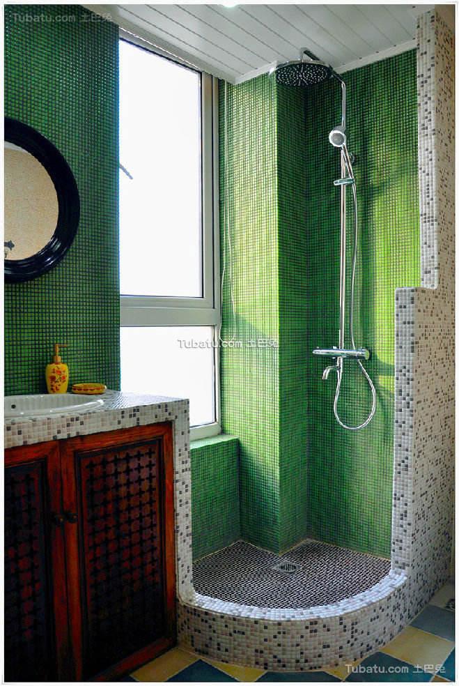 绿色地中海风格卫生间设计