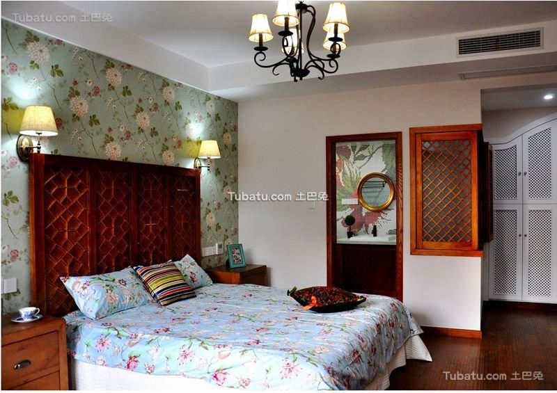 地中海风格碎花卧室布置