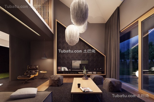 时尚现代风格loft客厅设计效果图