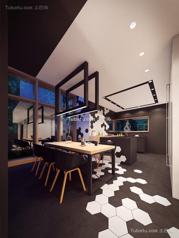 时尚现代风格loft餐厅效果图