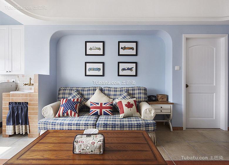 蓝色夏日地中海客厅布置效果图