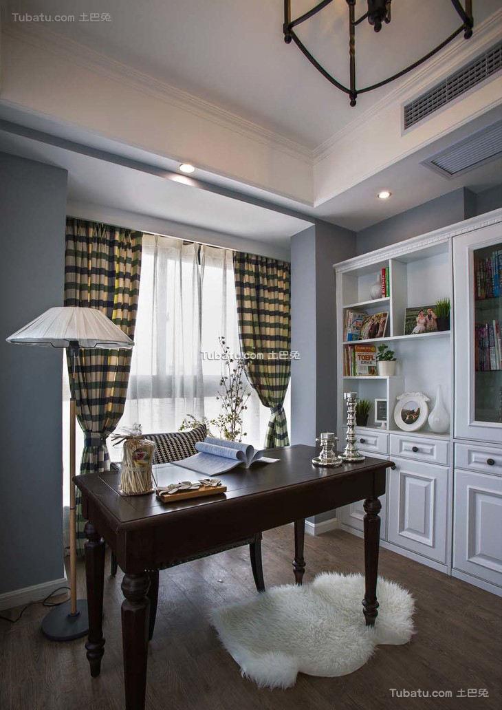 美式书房家装设计效果图