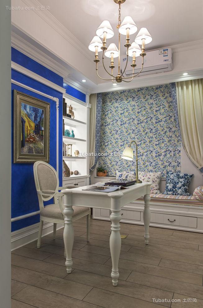 精致蓝白地中海风书房设计