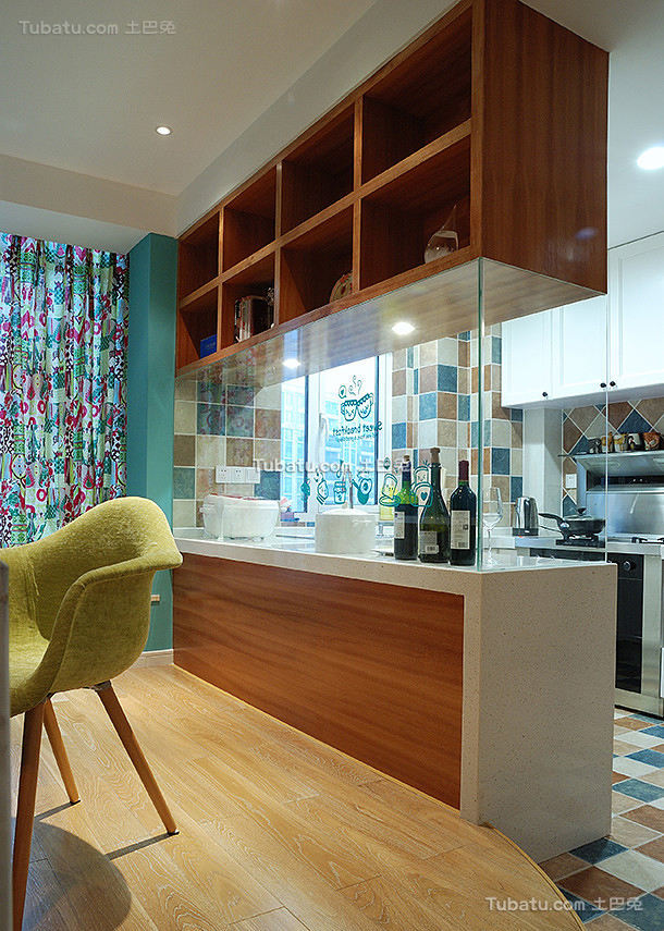 美式现代公寓吧台设计效果图