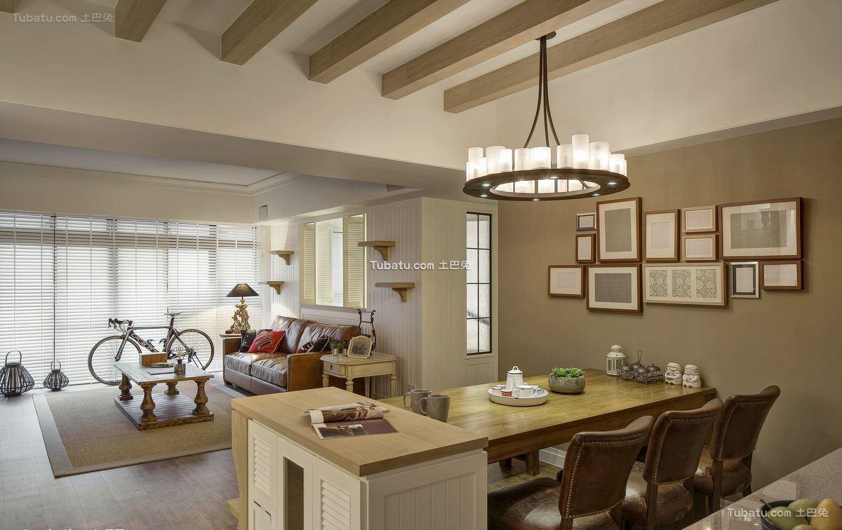 美式公寓室内餐厅设计效果图片