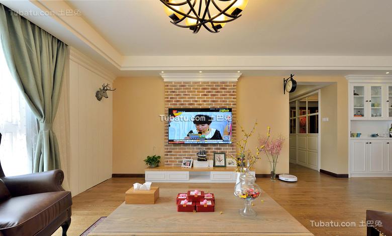美式现代电视背景墙设计装饰效果图