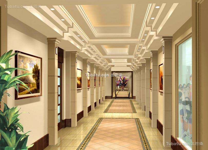 写字楼室内欧式走廊效果图