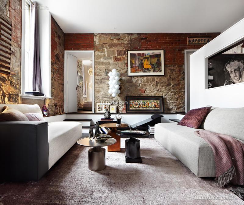 裸露的砖墙不拘一格的客厅设计