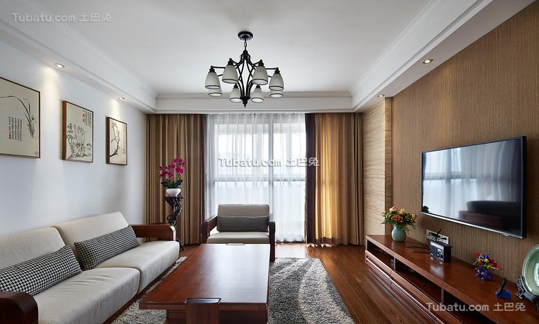 美式现代家装三居室设计效果图片