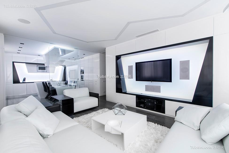 未来感的黑白客厅设计